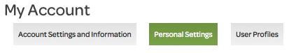 my account, personal settings tab