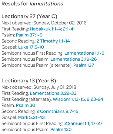 reverse lectionary example using lamentations