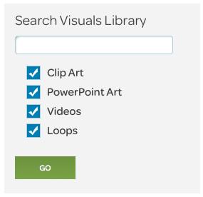 visuals page search box