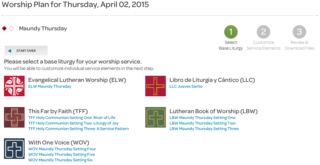 choose base liturgy, holy week