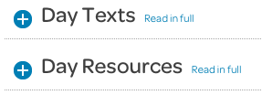 home page, days texts and resources collapsed