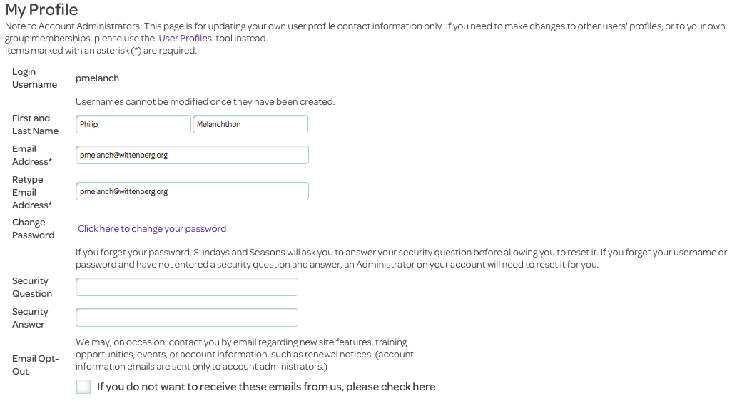 personal settings, my profile