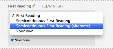 reading element, drop down menu