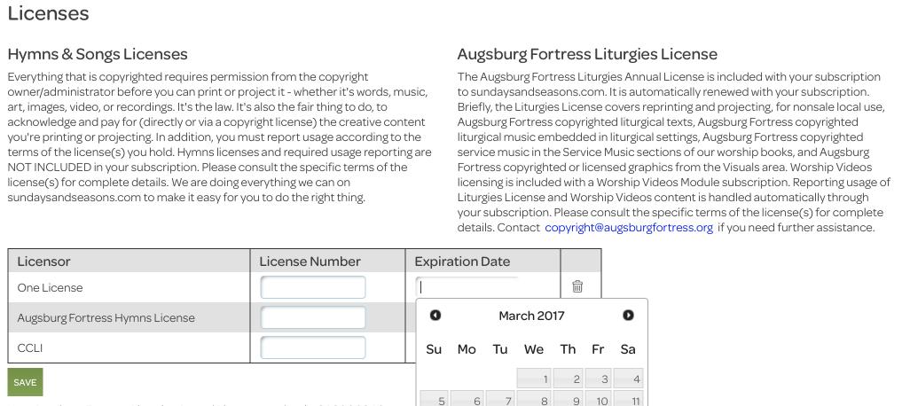 account settings, licensor table